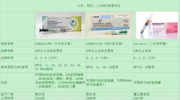 二价四价九价HPV疫苗的区别?